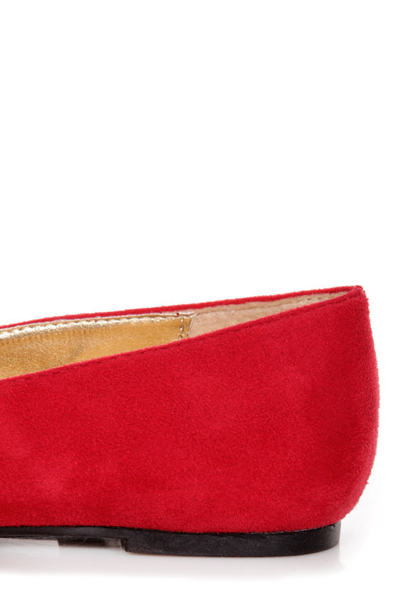 Paprika Evon Lipstick Red Gold Cap-Toe Smoking Slipper Flats at Lulus.com!