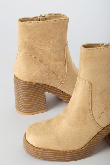 Dirty Laundry Groovy Camel Suede Platform Ankle Boots