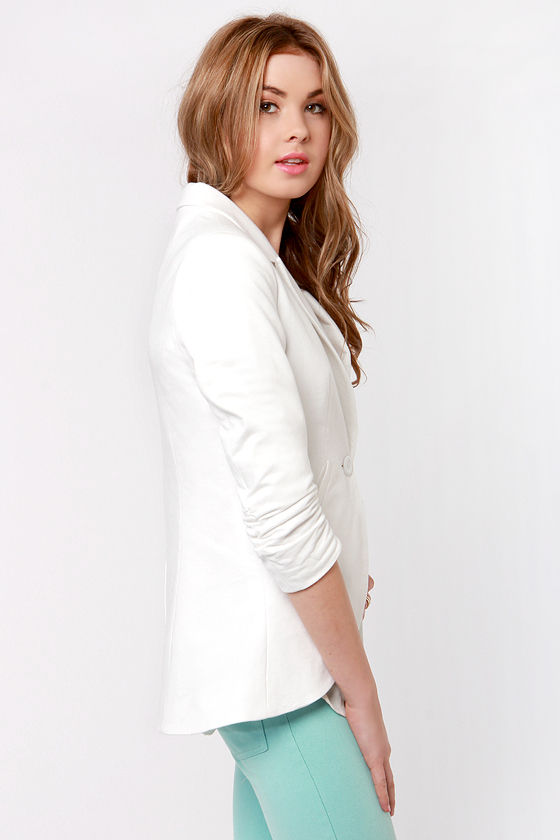 What a Little Ruche Can Do Ivory Blazer at Lulus.com!
