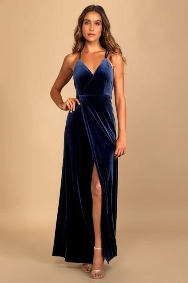 Whimsical Romance Dark Blue Velvet Faux-Wrap Maxi Dress