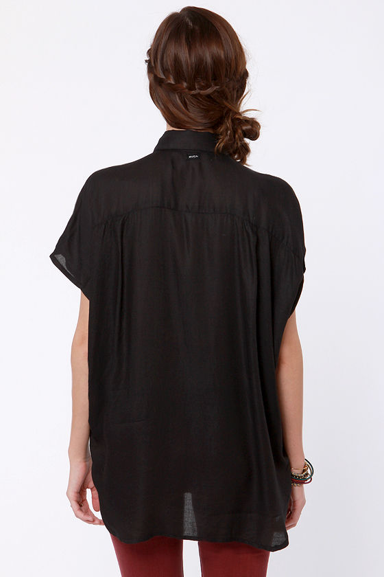 RVCA Canyon Shadow Black Button-Up Top at Lulus.com!