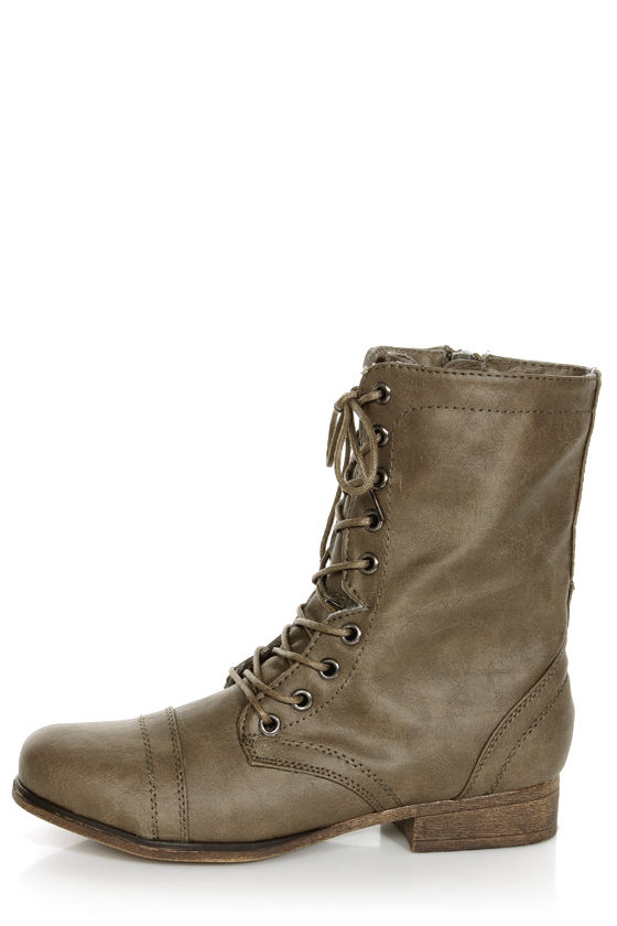 Madden Girl Gamer Stone Pari Taupe Lace-Up Combat Boots - $59.00