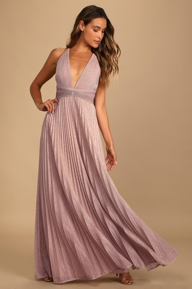 Especially Stunning Blush Pink Sparkly Pleated Maxi Dress