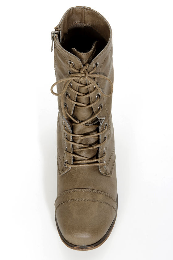 Madden Girl Gamer Stone Pari Taupe Lace-Up Combat Boots at Lulus.com!