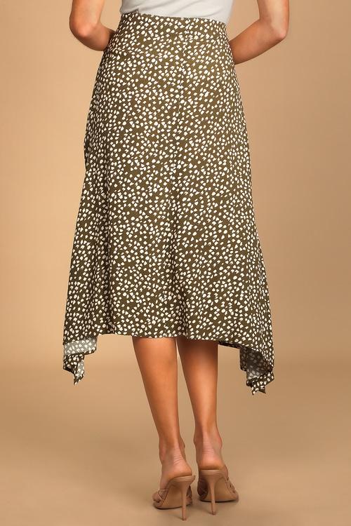 Set a Trend Sage Green Animal Print Midi Skirt