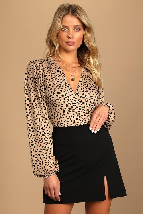 Wildly Trendy Tan Cheetah Print Long Sleeve Bodysuit