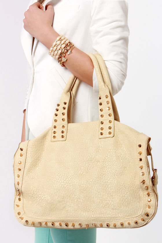 Only Rock 'n' Roll Studded Ivory Tote at Lulus.com!