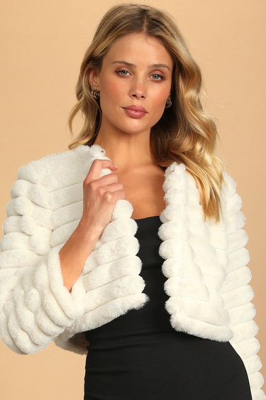 Live for Luxe Ivory Cropped Faux Fur Jacket