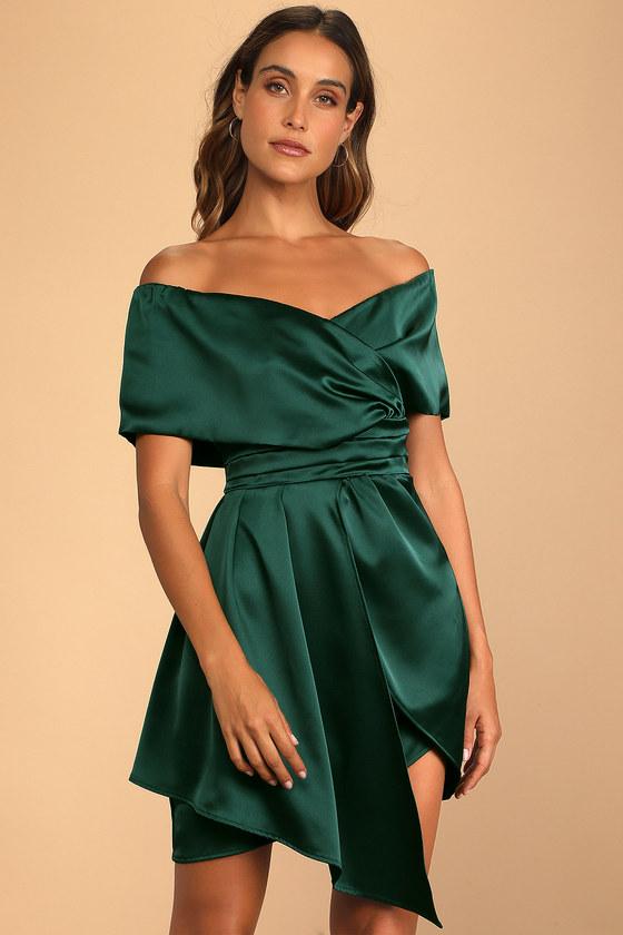 Always Celebrating Dark Green Satin Off-the-Shoulder Mini Dress