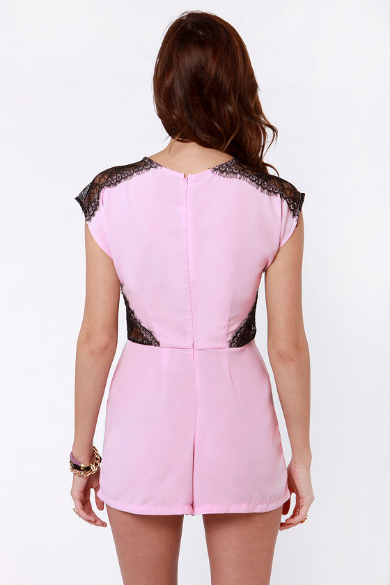Lace Likely Pink Romper at Lulus.com!