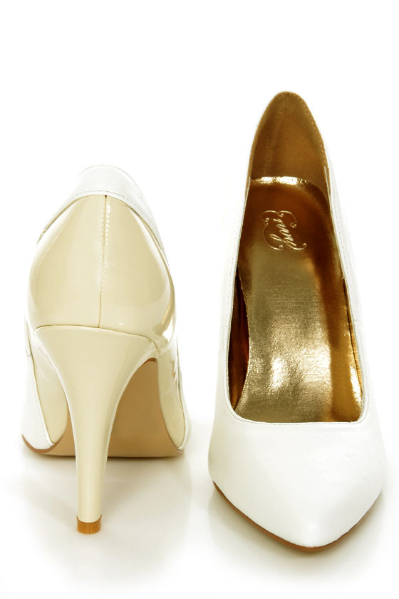 Envy Bethanie White and Cream Leather Pumps at Lulus.com!