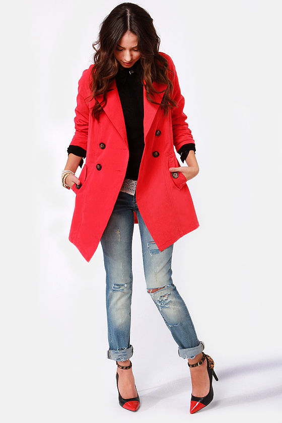 BB Dakota by Jack Hans Coral Red Trench Coat at Lulus.com!