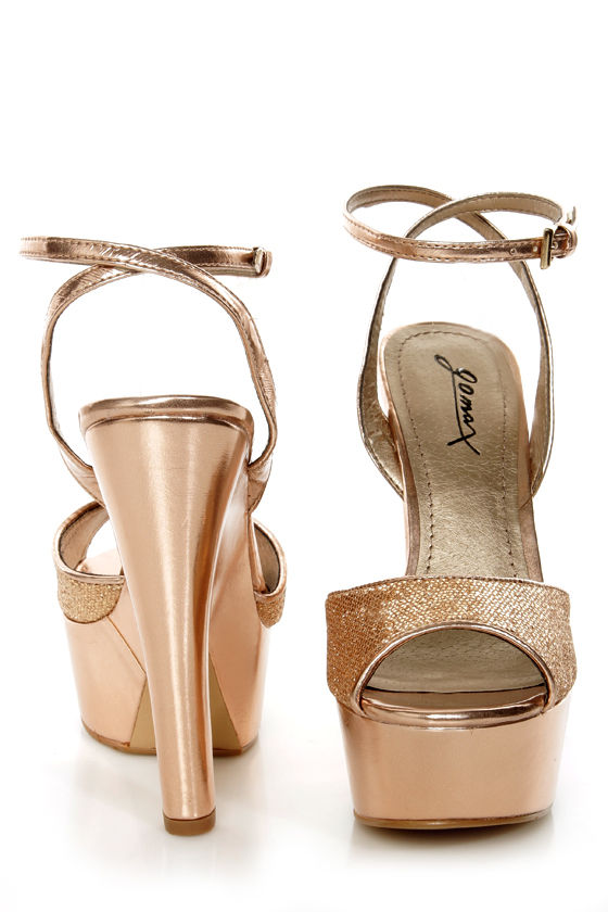 GoMax Tiny Dancer 01X Rose Gold Metallic Platform Heels at Lulus.com!