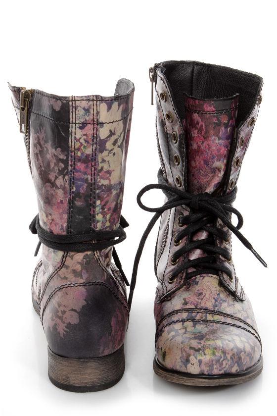 Steve Madden Blomm Floral Multi Print Leather Combat Boots - $129.00