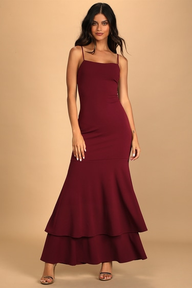 Tier and There Burgundy Tiered Trumpet Hem Maxi Dress
