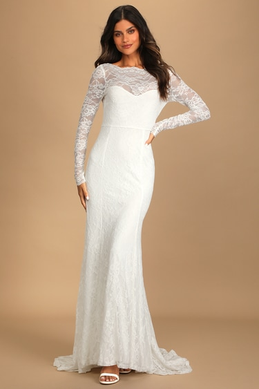 I Take Thee Forever White Lace Long Sleeve Mermaid Maxi Dress