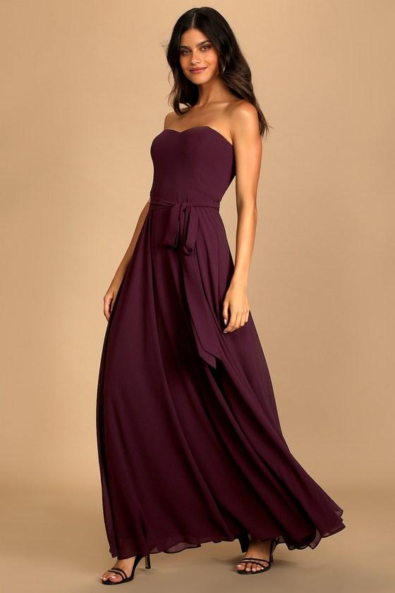 Elegant Events Dark Purple Strapless Maxi Dress