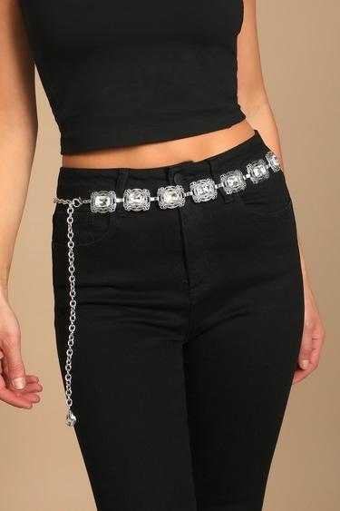 Western Glam Silver Rhinestone Chain Belt
