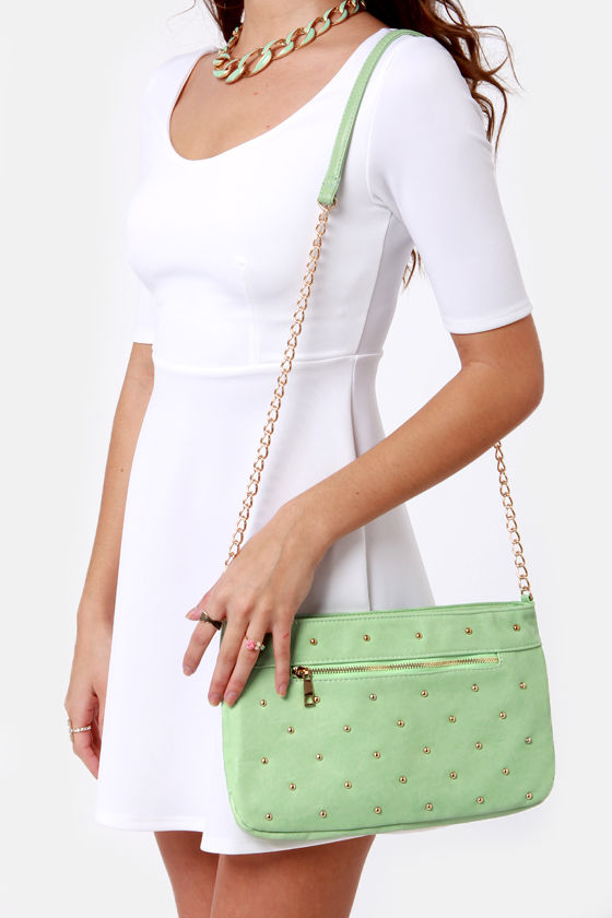 Mints Meet Studded Mint Green Purse at Lulus.com!