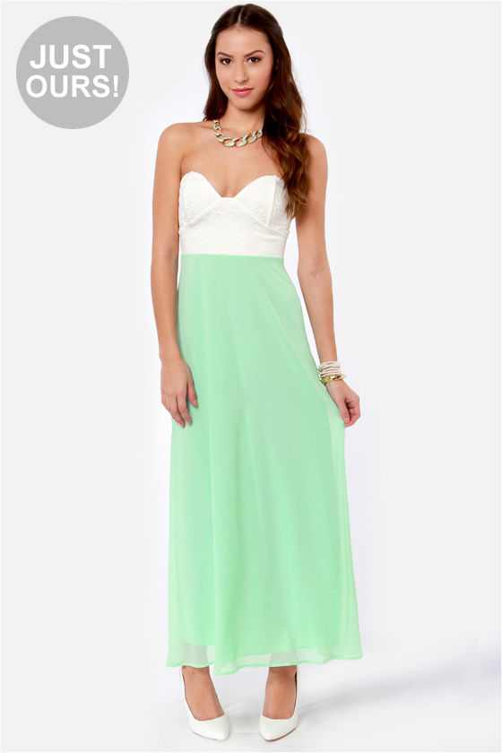 Pastel green maxi dress