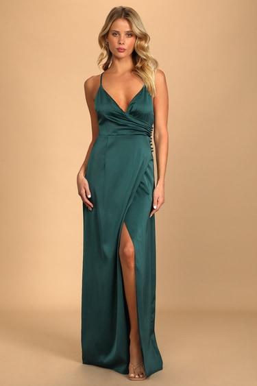 Outstanding Elegance Teal Green Satin Surplice Maxi Dress