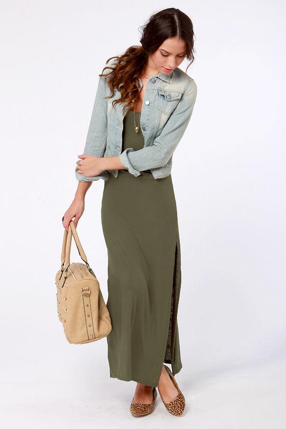 Casual Olive Green Dress - Maxi Dress - $35.50