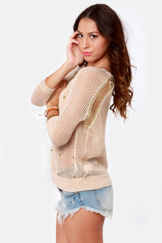 Spikes-y Dish Studded Beige Sweater at Lulus.com!