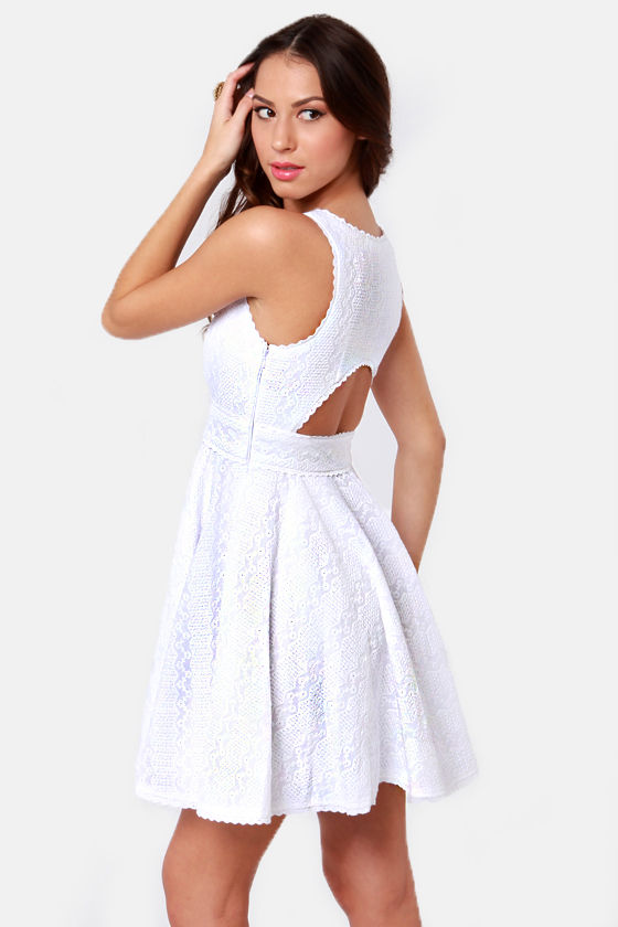 Edelweiss Cutout White Lace Dress at Lulus.com!