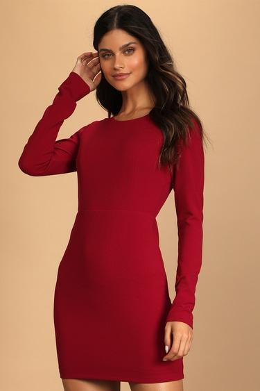 Flirty Behavior Wine Red Long Sleeve Cutout Bodycon Mini Dress