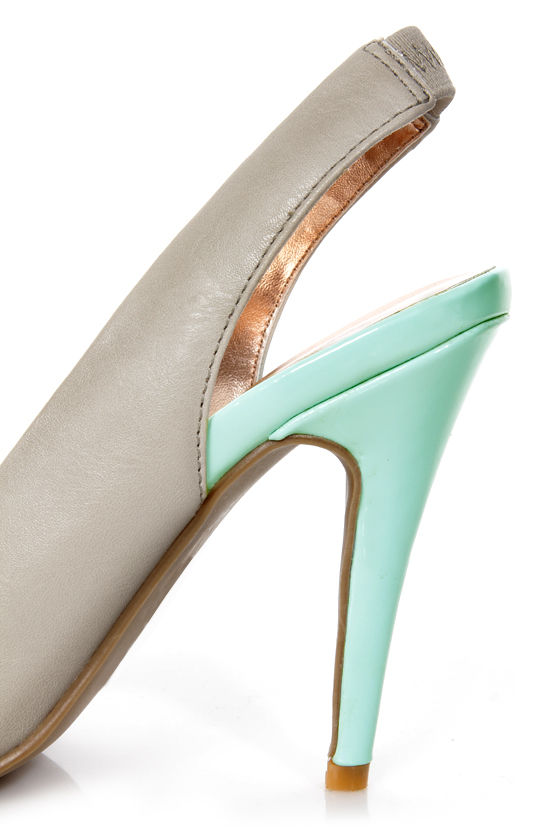 GoMax Ashland 21 Grey and Light Blue Cap-Toe Slingback Heels at Lulus.com!