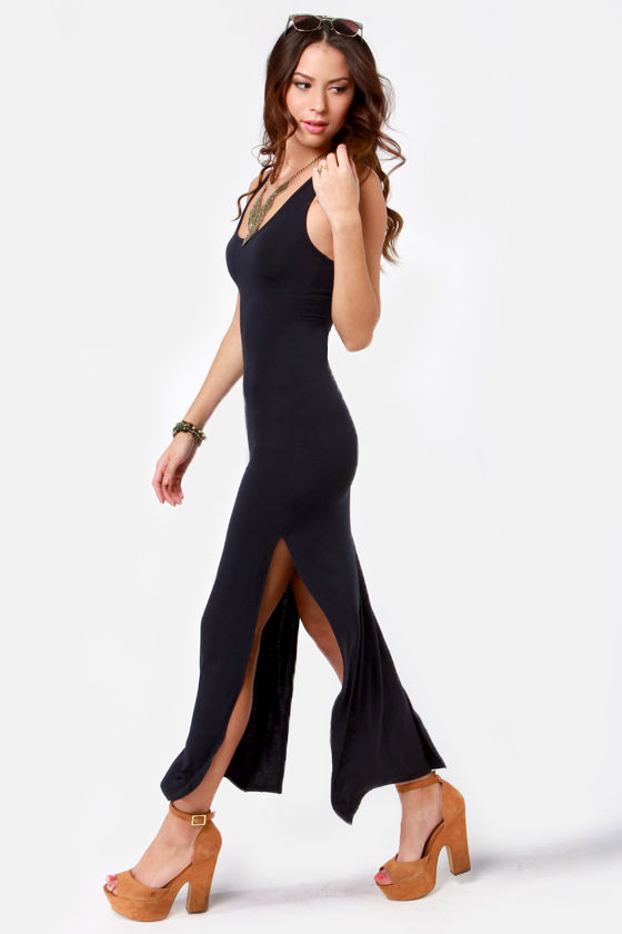 Break for It Navy Blue Maxi Dress at Lulus.com!