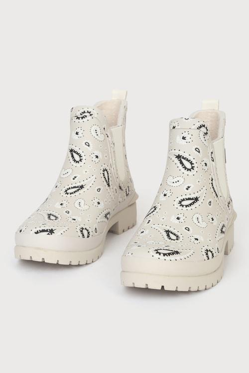 Keds Rowan Beige Bandana Print Short Rain Boots