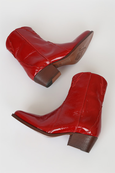 Free People New Frontier Western Red Leather Pointed-Toe Mid-Calf Boots