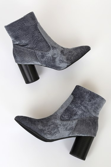 Coconuts by Matisse Alana Grey Floral Jacquard Velvet Ankle Boots