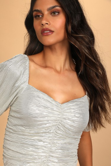 Bright Future Ahead Metallic Silver Ruched Puff Sleeve Top