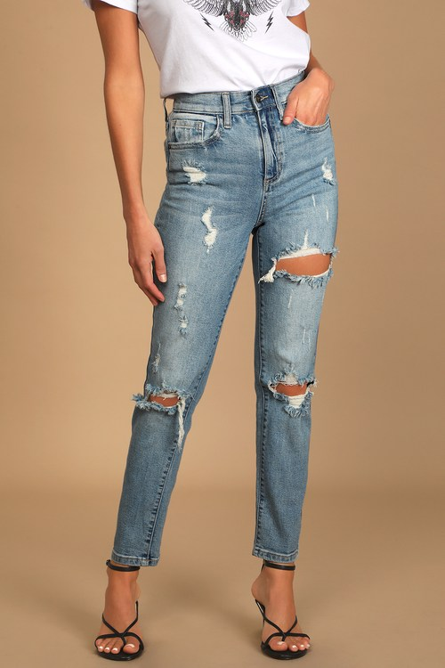 It's Your Day Medium Wash High-Rise Distressed Mom Jeans