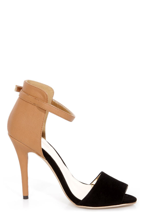 GoMax Calantha 01 Camel and Black High Rise High Heels at Lulus.com!