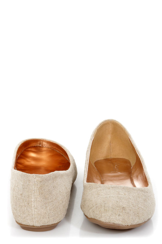 GoMax Sienna 22L Tan and Gold Fabric Ballet Flats at Lulus.com!