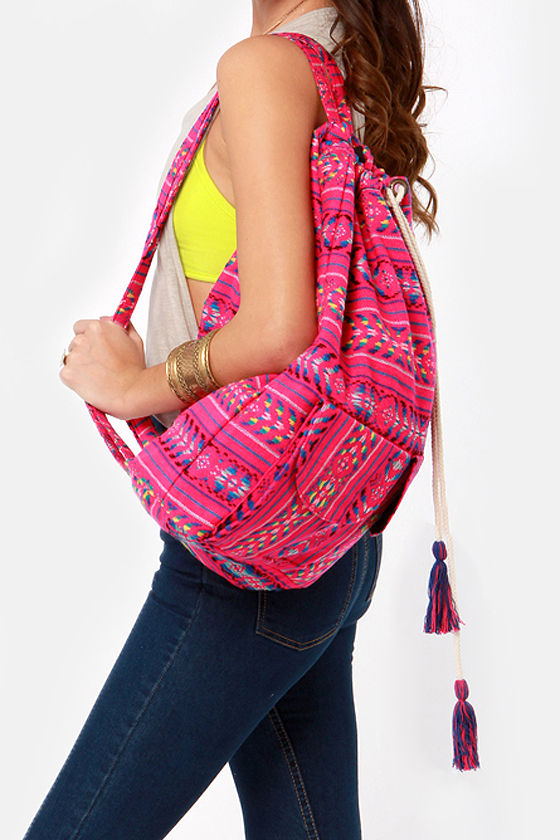 Billabong Canyon Cruz Hot Pink Tribal Print Backpack at Lulus.com!