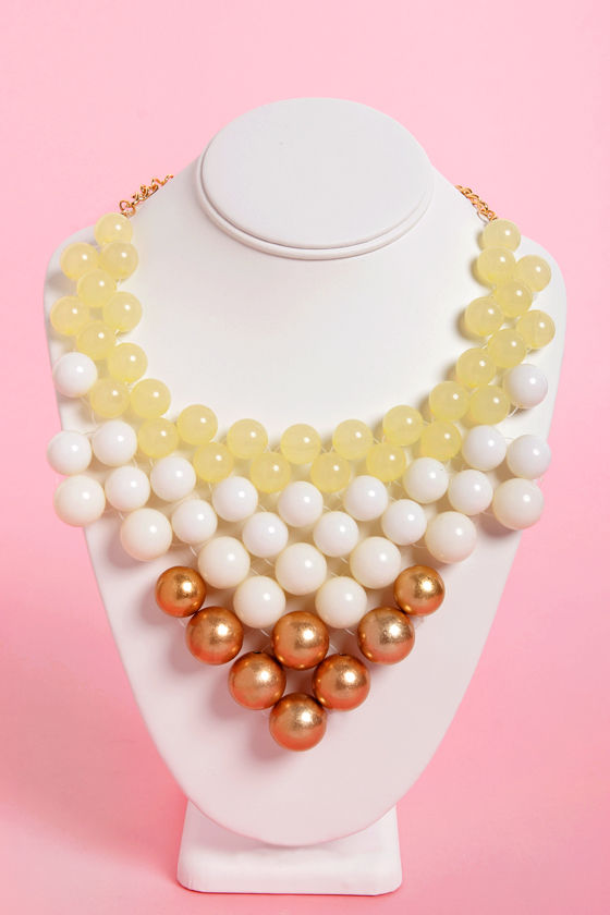 Ballroom Blitz Gold and Ivory Statement Necklace at Lulus.com!