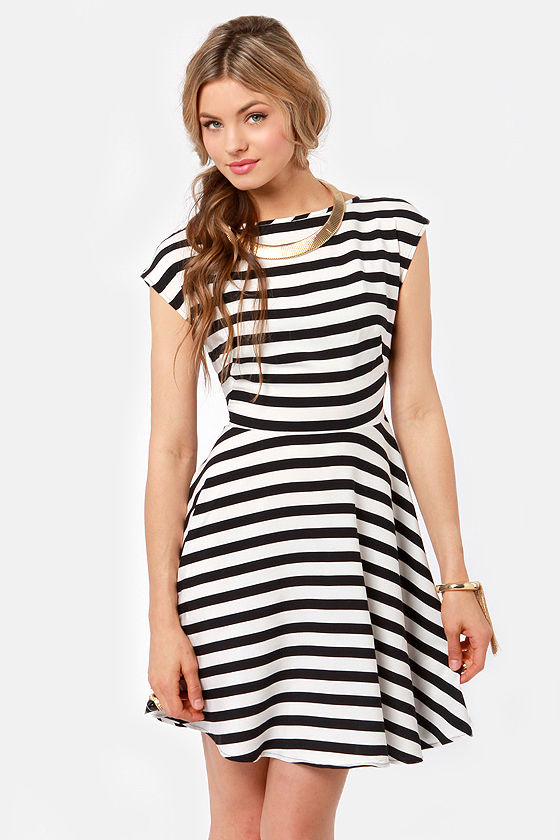BB Dakota Zamora Black and White Striped Dress at Lulus.com!