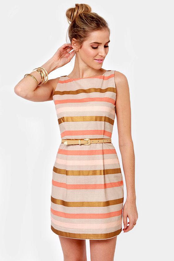 Bb Dakota Delaine Dress Sheath Dress Striped Dress