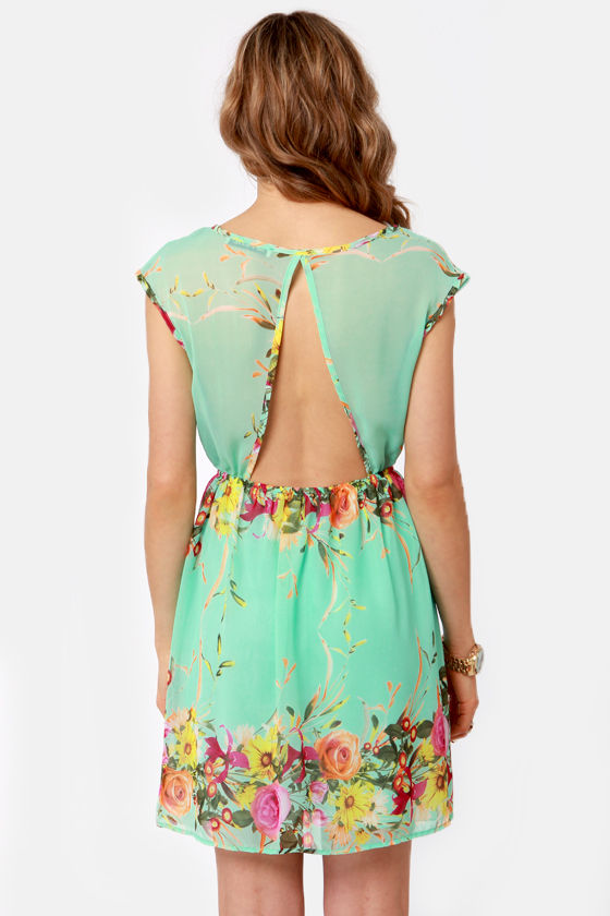 Bloomsday Mint Backless Floral Print Dress at Lulus.com!