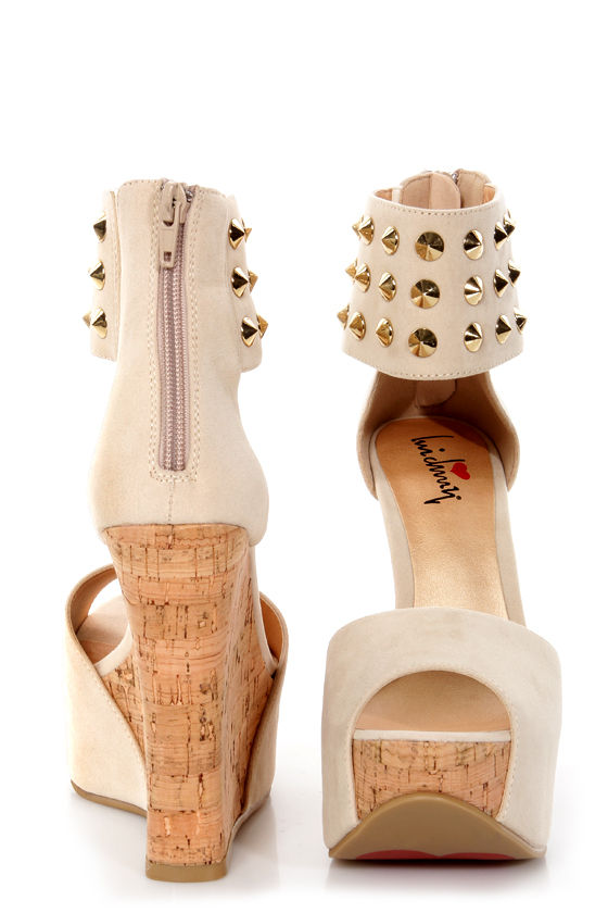 Luichiny Cassi Dee Beige Studded Ankle Cuff Platform Wedges at Lulus.com!