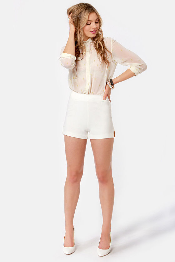 Metal-morphosis Ivory High Waisted Shorts at Lulus.com!