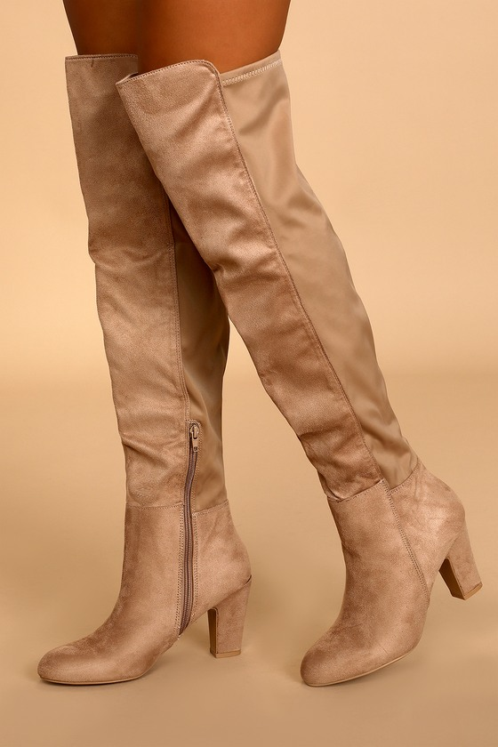 CANYONS TAUPE SUEDE OVER THE KNEE BOOTS