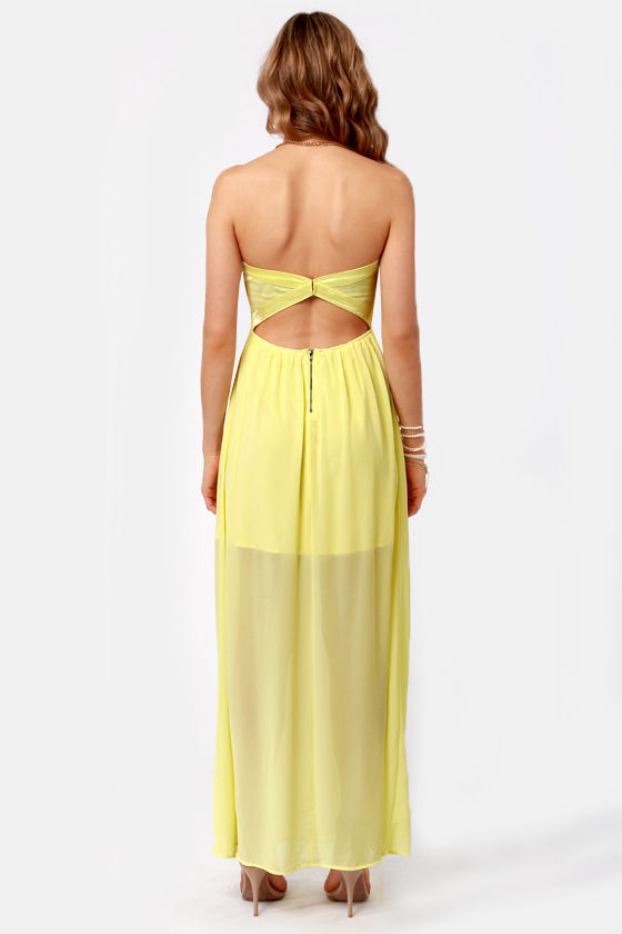 Column What You Like Strapless Yellow Maxi Dress at Lulus.com!