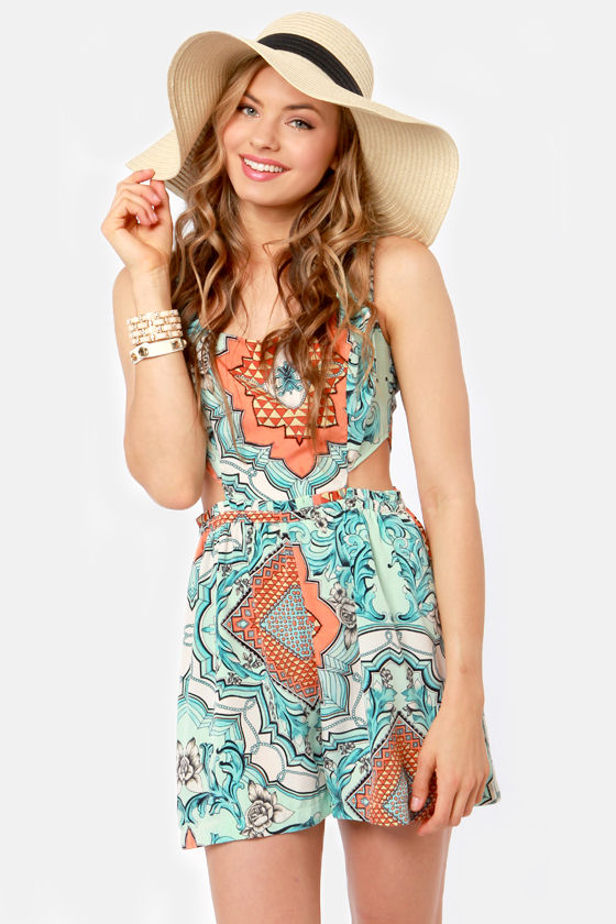 Hot Rococo Cutout Scarf Print Romper at Lulus.com!