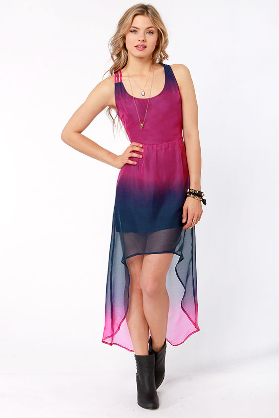 Volcom Sidewalk Flight Navy and Fuchsia High-Low Dress at Lulus.com!