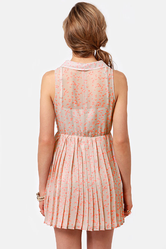 Volcom Cambridge Taupe Neon Print Dress at Lulus.com!